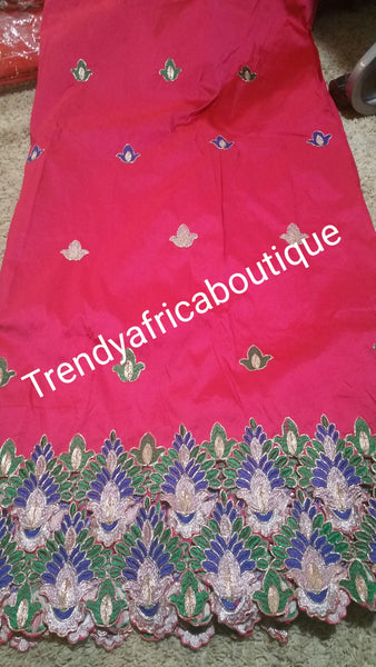Fuchsia pink Fancy India-George Wrapper with hand cut flower boader. Sold 5 yards lenght