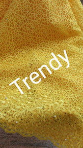 5 yards Classic Yellow tulle french Lace fabric for making Nigerian party dresses. Sold per 5yds. Soft quality fabric