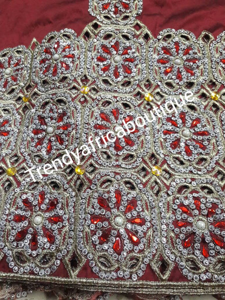 Exclusive Maroon Red Madam/VIP hand Stoned Silk George wrapper for Nigerian Traditional wedding 5yards wrapper + 1.8yds blouse