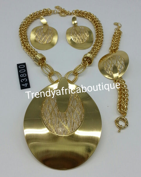3pcs. Latest Jewelry set.  18k Gold plated Dubai necklace set for Nigerian big party. High quality plating. Available in Silver plating. Sold as a set. Price is for set