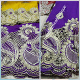 Purple wrapper + yellow matching blouse. Nigerian women Embroidery George wrapper design with beads and stones. Small-George. Sold per 6yds wrapper and 1.8yds blouse
