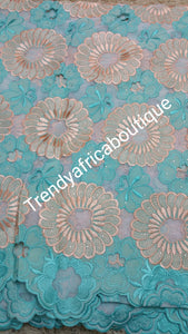 Clearance: Skyblue/Peach Original Swiss voile lace. Embroidery swiss lace. Sold per 5yds.