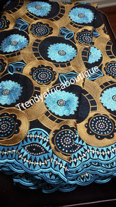 Sale: Black/Gold/Turquoise blue Swiss voile lace fabric with multi color Crystal stones. Use for Nigerian party. Sold per 5yards. Price is for5yds