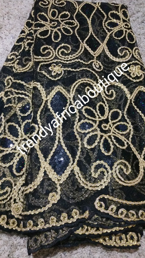 Black/gold Net French lace fabric for Nigerian party dress. Soft ...