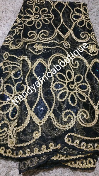 Black/gold Net French lace fabric for Nigerian party dress. Soft, quality lace fabric. Sold as 5 yards
