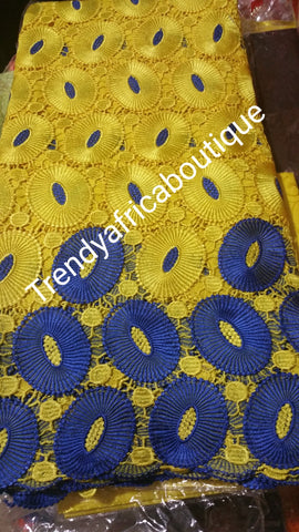 Sale: Yellow/royal blue Cord-lace fabric. Soft Quality African/swiss lace. Sold per 5yds.