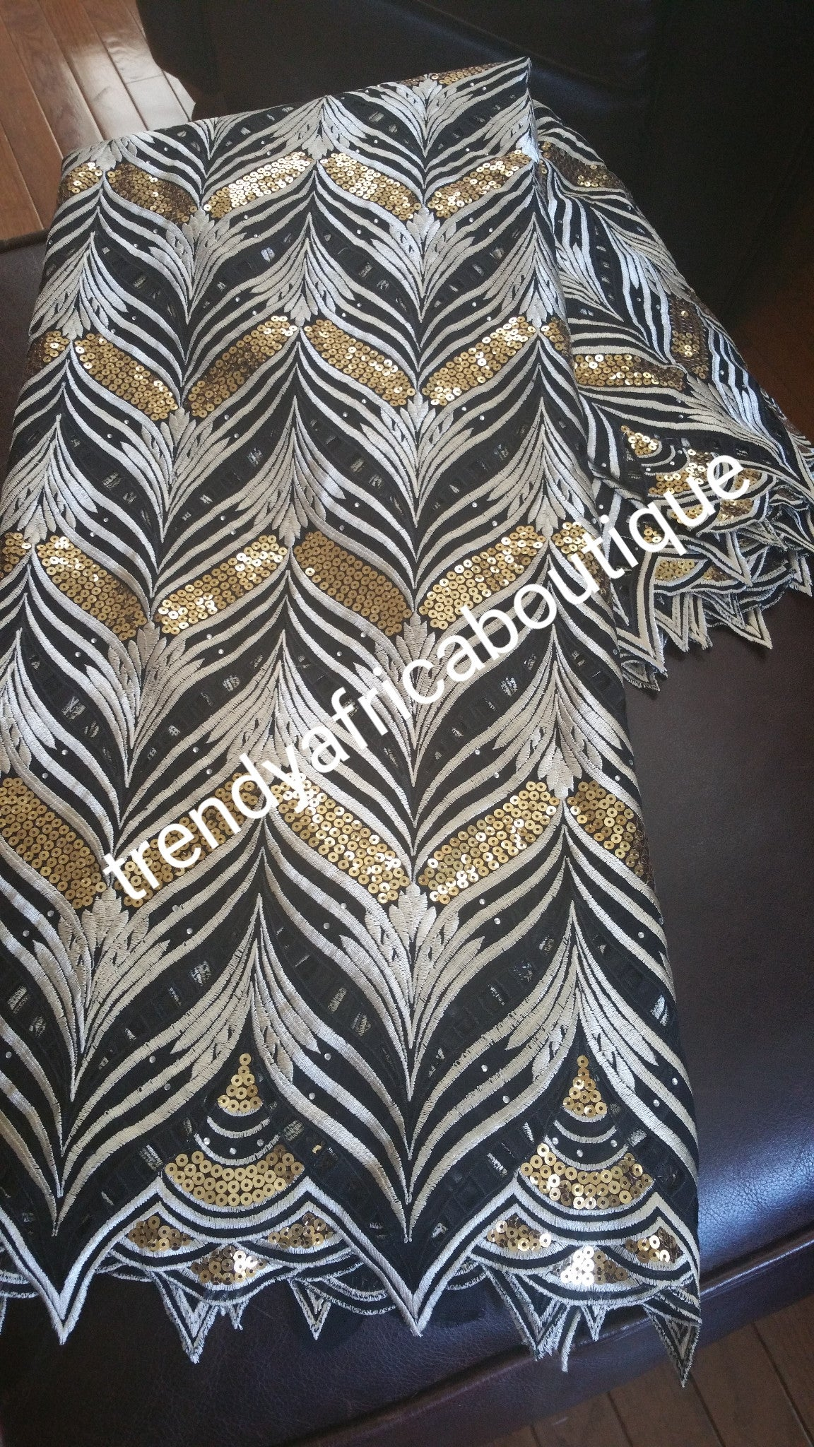 Special offer: Black/Gold/Beige Cotton Voile,  Swiss lace fabric embellished with Gold Sequence. Sole per 5 yards
