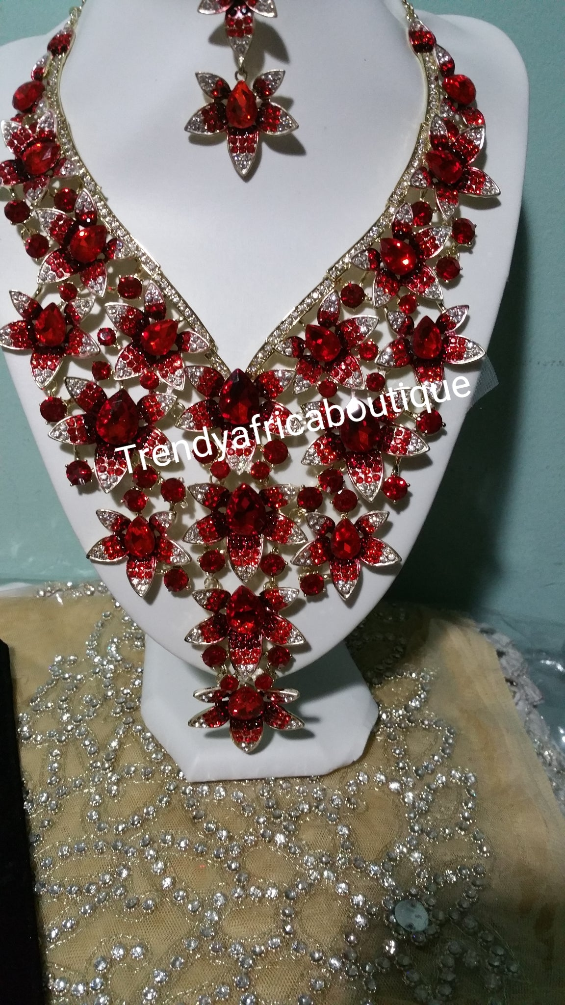 Latest assorted colors of Crystal necklace set for weddings/big event. Beautiful  necklace and matching earrings. Costume jewelry set in dazzlying crystal in 18k gold plating