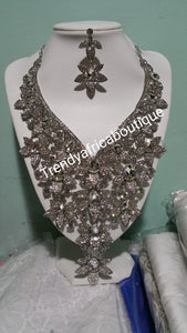 Sale: Silver Crystal jewelry set. 2pc set of Bridal dazzling crystal necklace for weddings or formal occasion. Sold as a set