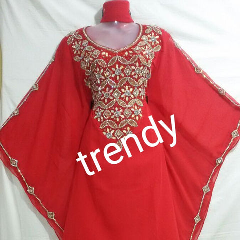"Red African Kaftan/Bubu, 60""  long free flowing Kaftan party dress. Front dazzling Crystal gold/sliver stones"