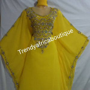 "Yellow Long kaftan/bubu beaded and crystal stones design. 60"" long free flowing African kaftan dress"