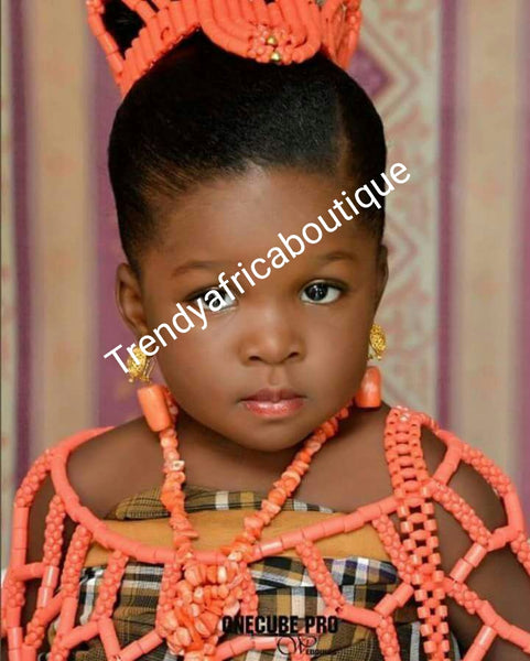 Nigerian Traditional wedding Coral Beads. 2 pcs Little Bride beaded head piece and shawl. Traditional Coral Beaded necklace set