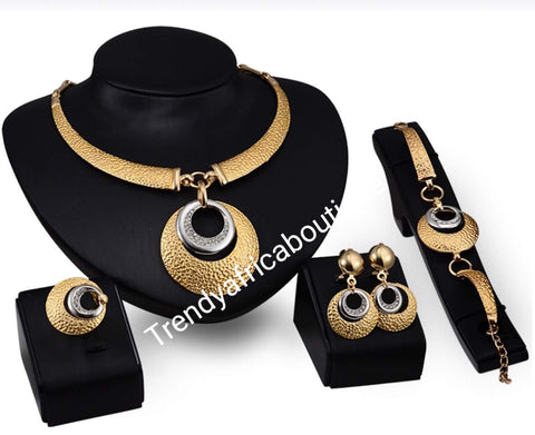 18k Gold plated, 2 tone necklace set. 4pcs. Matching  jewelry set. African costume necklace set