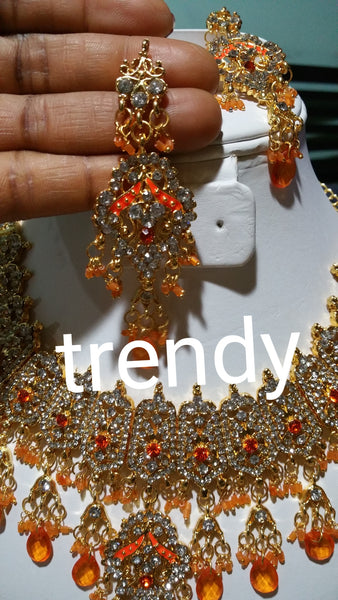22k Gold plated jewelry set with orange beads accent. 2pcs set