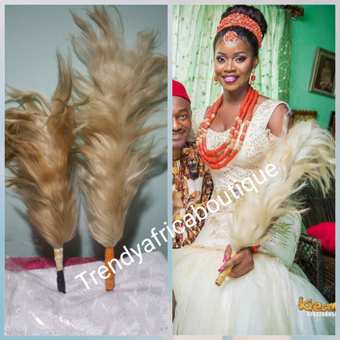Traditional wedding accessories  for Igbo/Edo  Bride. Beige horse tail long and small size. For ceremonier use in Nigeria