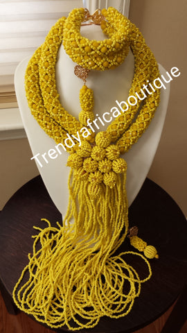 Sale, sale:  Elegant yellow beaded necklace set with multi-dropping. Classic design. Coral-necklace set for African party.