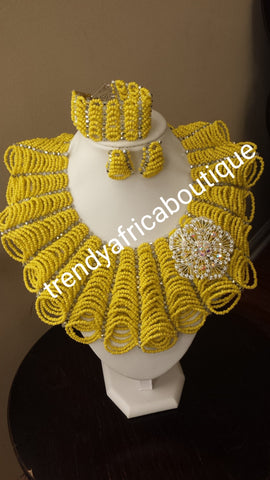 Clearance item: Yellow coral beaded necklace set for Nigerian big party. Yellow coral-necklace set,  Nigerian Bride