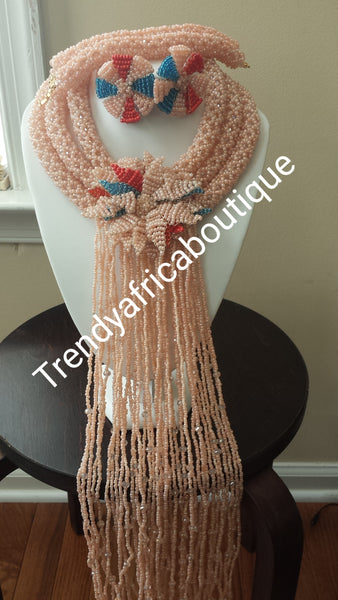 Sale: 3 rows hand beaded necklace with bracelet and earrings. Peach/teal/red. Coral-necklace for Nigerian party