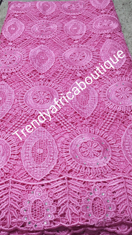 Baby pink cord-lace fabric with crystal stones for sale. Cord/guipure swiss lace fabric. Sold per 5yds length. Guipure-lace fabric. Excellent quality