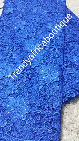 Royal blue Cord-lace fabric with stones for Nigerian party dress. Africa Cord/guipure swiss lace fabric