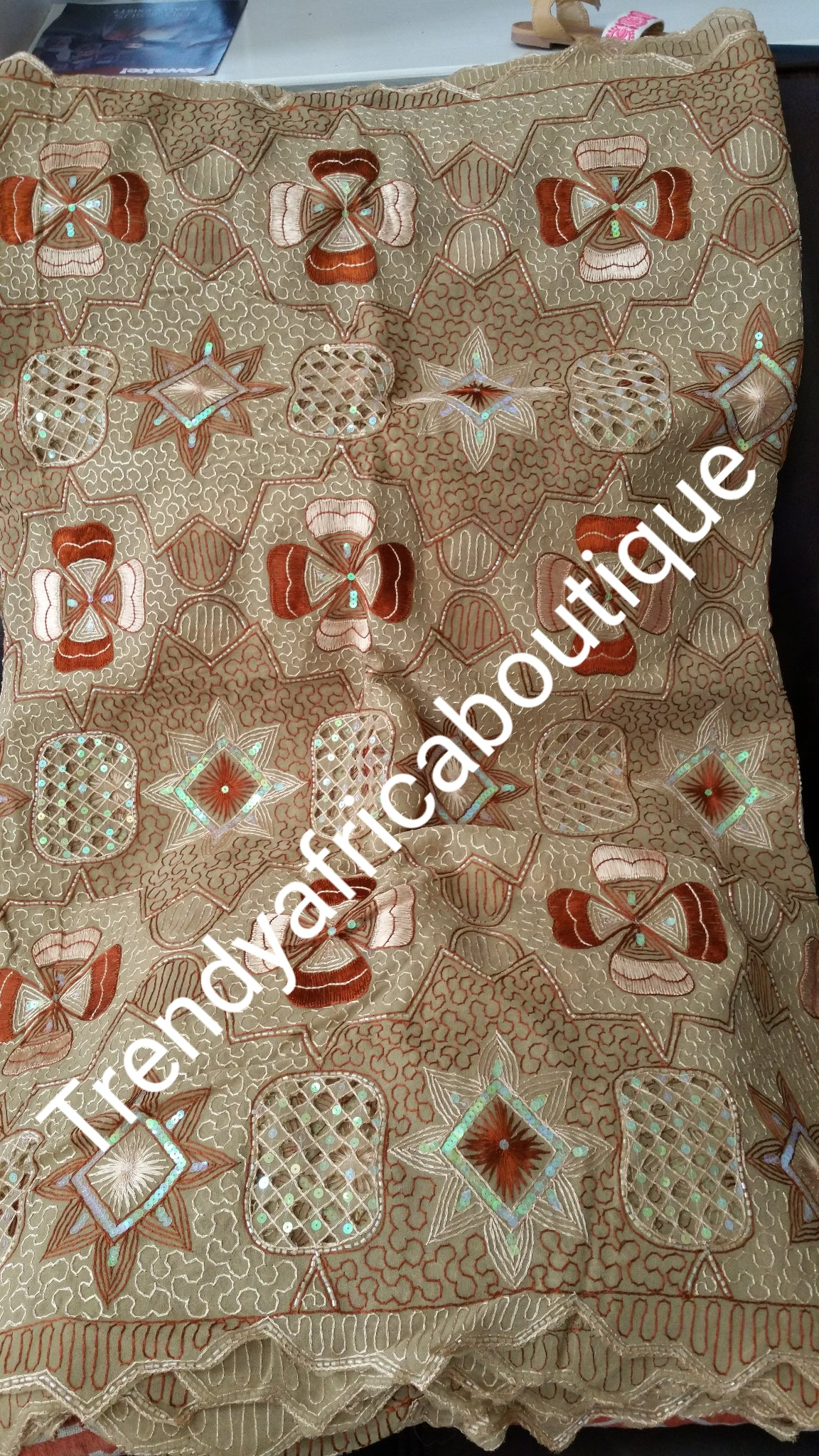 Premium first lady George wrapper. Beaded and stones. Quality  Georges for Nigerian women party wear. Sold 5yds
