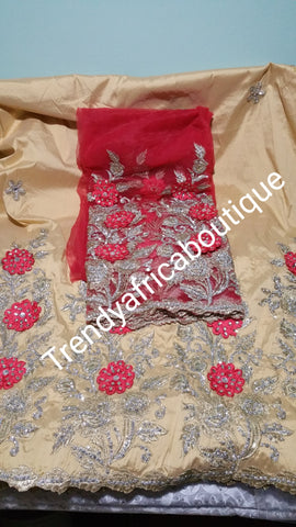 Nigerian Tranditional George wrapper. Embriodery/stones design in Champagne/coral red matching blouse. Small-George.