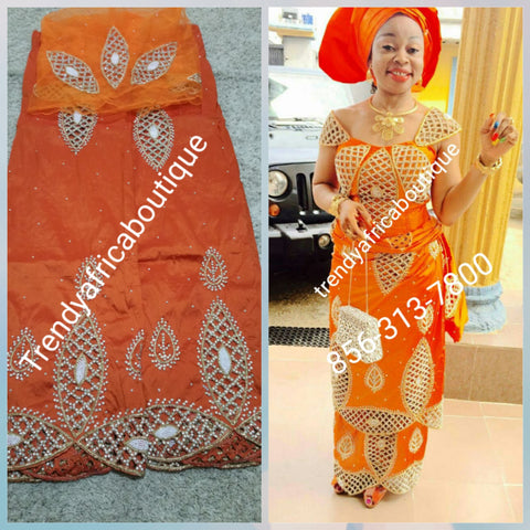 Clearance sale: Burnt Orange VIP/Celebrant Silk George wrapper with matching blouse. Tradional Igbo Bride George wrapper.