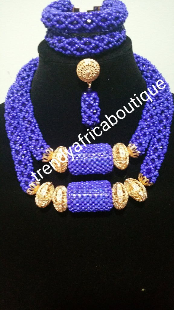 Latest Royal blue coral-necklace set. Quality wedding bead in 2 ...