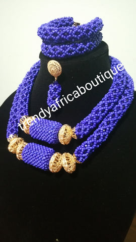 Latest Royal blue coral-necklace set. Quality wedding bead in 2 row choker necklace set.
