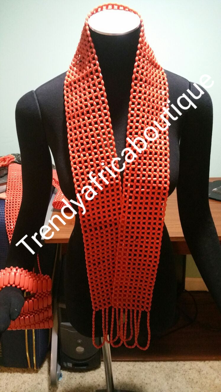 Back in stock: Edo/Delta coral beads for Traditional wedding. Coral-necklace for Groom. This is a beaded neck shawl