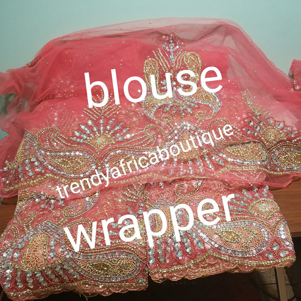 Ready to ship: Sweet Coral color VIP Madam Net George wrapper for Nigerian Bridal outfit. All over beaded/crystal stoned 2.5yds+ 2.5yds net + 1.8yds matching net for blouse. Sold as a set. Nigeria traditional weddings/event