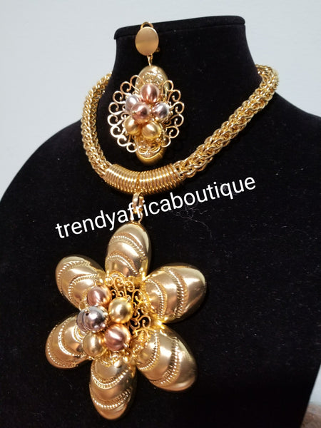 Big pendant/earrings 18k Gold plated Dubai costume jewelries set. High quality plating, hypoallergenic necklace and earrimgs necklace set. Sold as a set