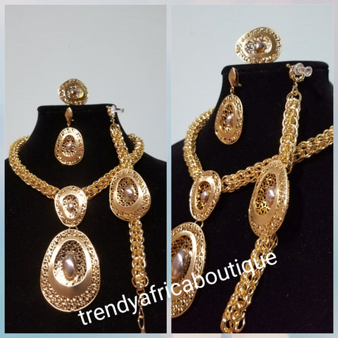 18k Gold plated quality Dubai necklace set. 4pcs African Costume Jewelry set. Brand new set. Sold as set