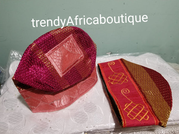 Traditional wedding Accessories. Agbada  Men-cap. Nigerian/African men embroidered cap. Sizes 22