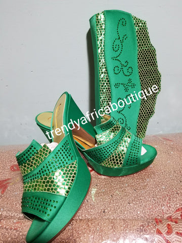 SALE SALE: Italian made platform slipper/purse set in beautiful Green. Embellised with crystal stones.
