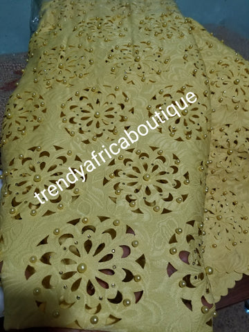 Latest Laser Cut with beads and stones. African french lace fabric. for African party wear. Beautiful yellow Gold color. Sold per 5yds, price is for 5yds