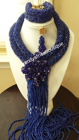 SALE: Nigerian wedding beaded-Necklace set. 2 row necklace and bracelet with drop earrings. Nigerian/African weddings. Sold as a set