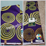 SALE: Purple background Ankara Cotton Wax print fabric. Sold per 6yds, price is for 6yds. 100% quality cotton African print
