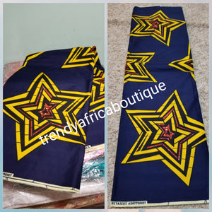 Ankara Collections Wax print in Navy/ big yellow Star. On sale 100% wax print fabric