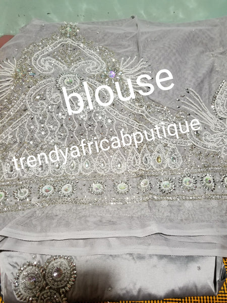 Sale: Classic silver/gray hand made VIP Nigerian Traditional wedding George wrapper for Bride. Sold with matching blouse