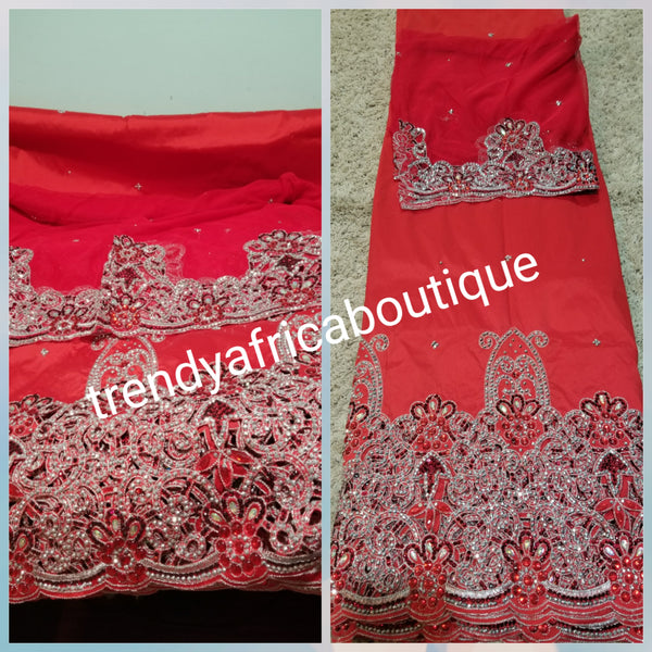 CLEARANCE: Red Hand Stoned Silk George wrapper & matching net blouse. Original quality.5yds wrapper + 1.8yds blouse