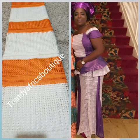 Clearance: Cream/Orange Cord-lace fabric for makimg Nigerian party dress. Sold per 5yds. Price is for 5 yds. Beautiful guipure-lace with stones