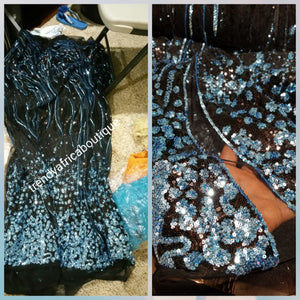 Clearance: Latest French lace fabric in black/turquoise blue sequence. Sold per 5yds, price is for 5yds. African dress fabric