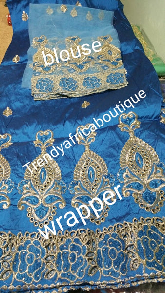 Special sale of Assorted colors Embroidery silk George wrapper + net blouse. Small-George. Sold as set