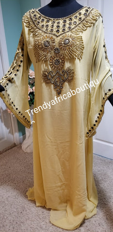 New arrival long free flowing India kaftan dress. Quality beaded and stones. Flared sleeve. Women Dubai kaftan. 60 inch long. Champagne gold