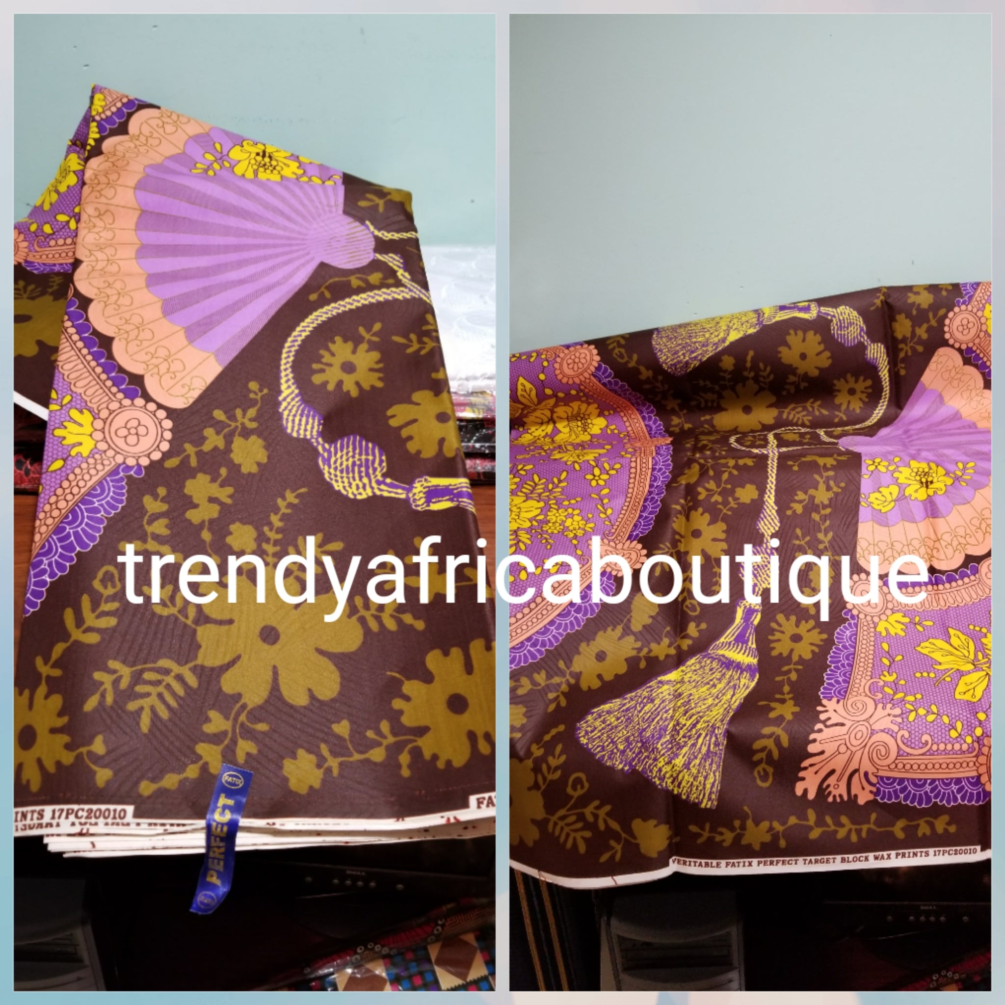 Sale: latest African Ankara print. 100% wax print fabric for making Nigerian dresses. Sold per 5yds.