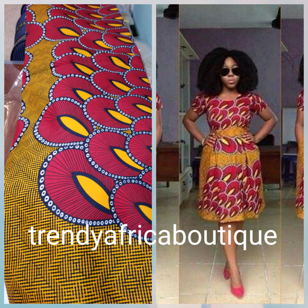 Sale sale: Beautiful African Cotton wax print fabric. 100% cotton Ankara for African dresses. Sold per 6yds. Price is for 6yds.