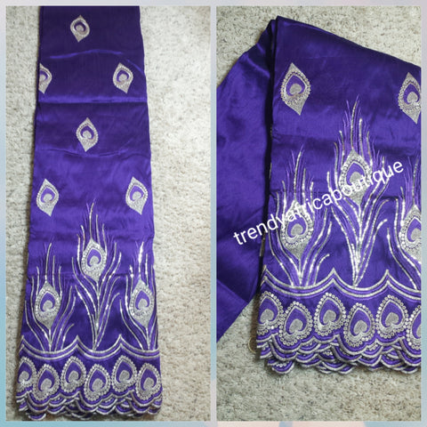 Clearance sale: Quality embriodery silk George wrapper in Purple with Gold embriodery work. Sold per 5yds. Price is for 5yds. Fancy Indian-George, small-george.