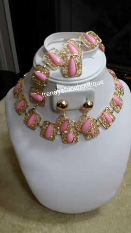 Sale: 4pc 18k gold plated necklace set. Sweet pink  bead accent. Sold as a set, price is for the set. Pink/gold and coral/gold.