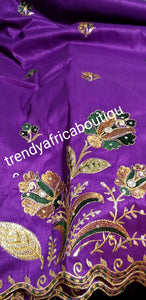 Clearance item: Quality Embriodery Purple Indian Silk George wrapper. Premium 1st lady Nigerian Tradional Igbo  wrapper. Sold 5yds. Price is for 5yds. Indian-George s